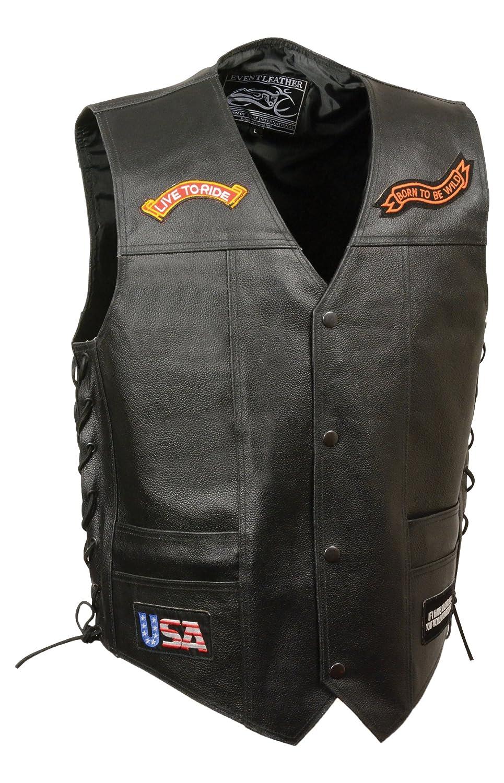 Black, X-Large Event Leather Mens 9 Patches Vest
