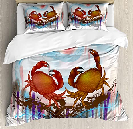 Amazon Com Ambesonne Crabs Duvet Cover Set Sea Animals Theme 2 Crabs Dancing On The Abstract Grunge Background Print Decorative 3 Piece Bedding Set With 2 Pillow Shams Queen Size Blue Brown Home