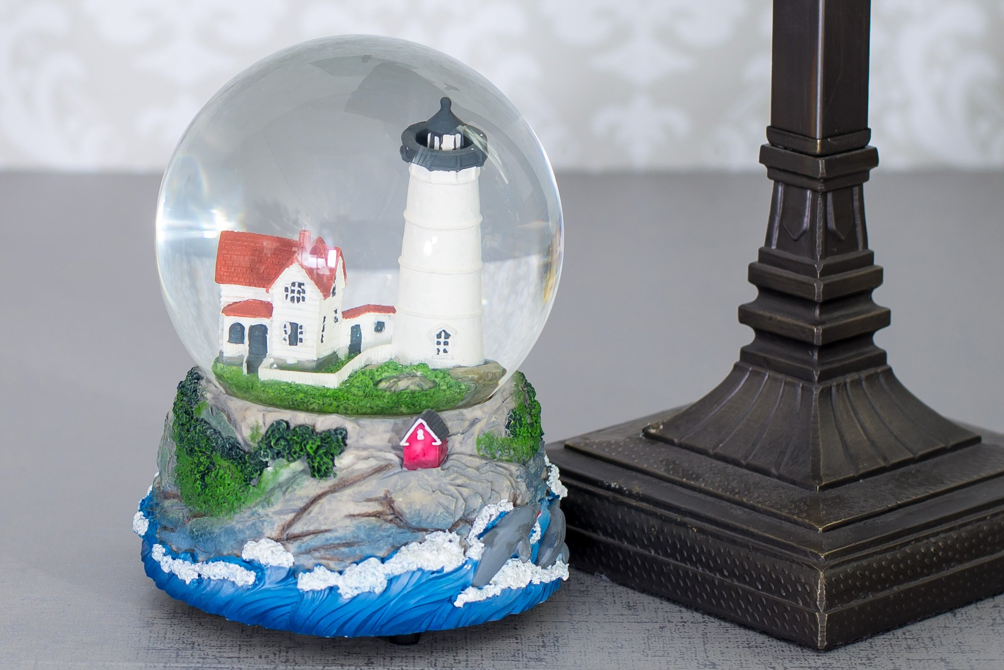 Cape Cod Lighthouse Cottage 100MM Music Water Globe Plays Tune Dock of the Bay by Cadona International, Inc (Image #2)