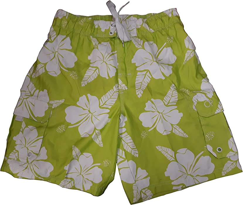 """d7c60c6fd1 Ocean Pacific OP Lime Green Hibiscus Tugger Above Knee 20.5"""" Outseam Swim  Short Trunks Size"""