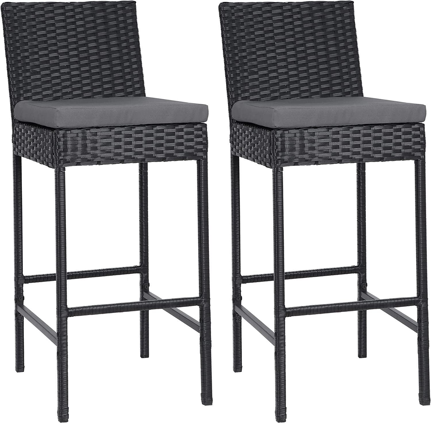 lafuria 2 Packs Wicker Barstools Outdoor Patio Rattan Furniture with 2 Cushions for Lawn Balcony Garden Black