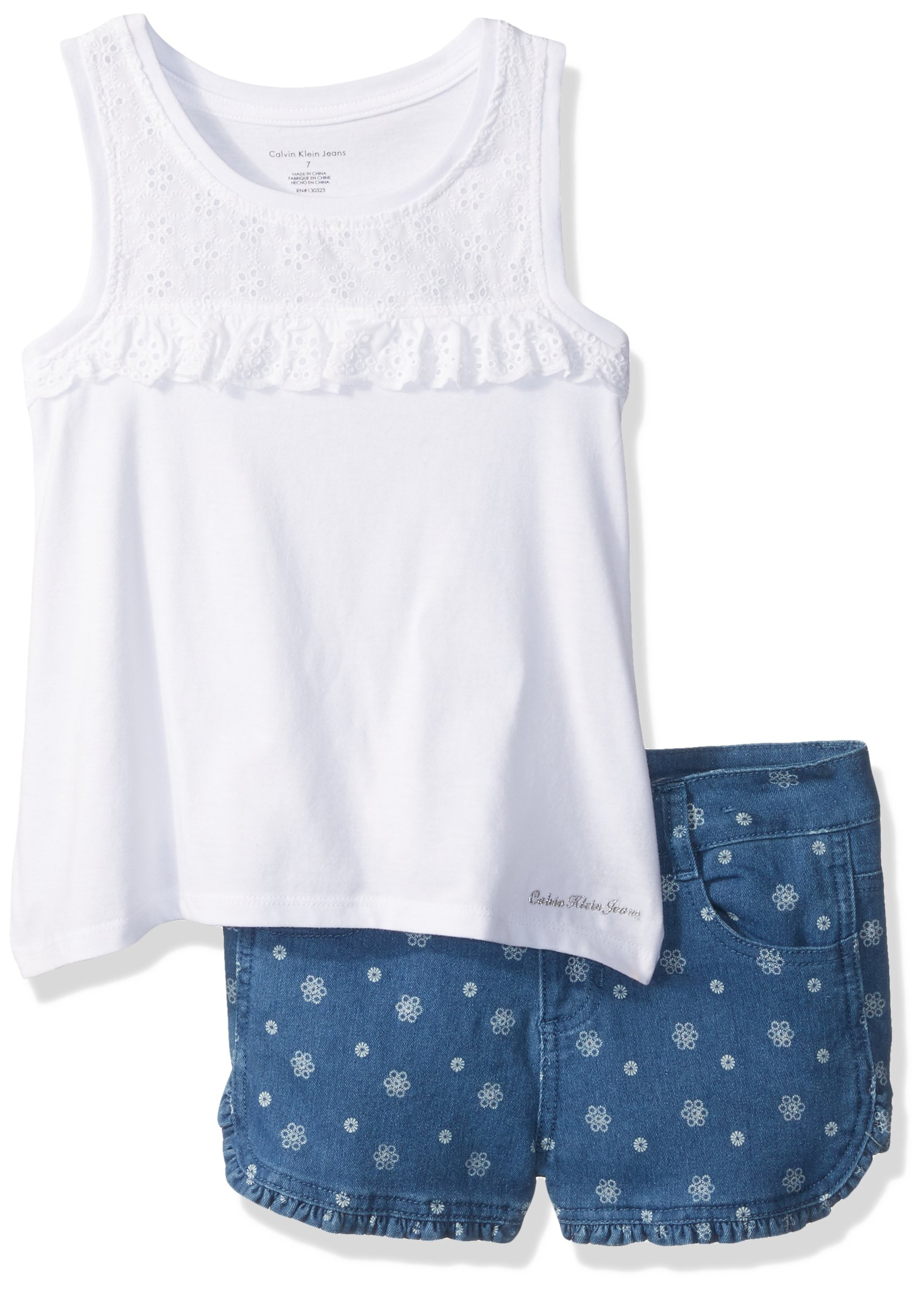 Calvin Klein Little Girls' 2 Pieces Jeans Short Sets, White, 5