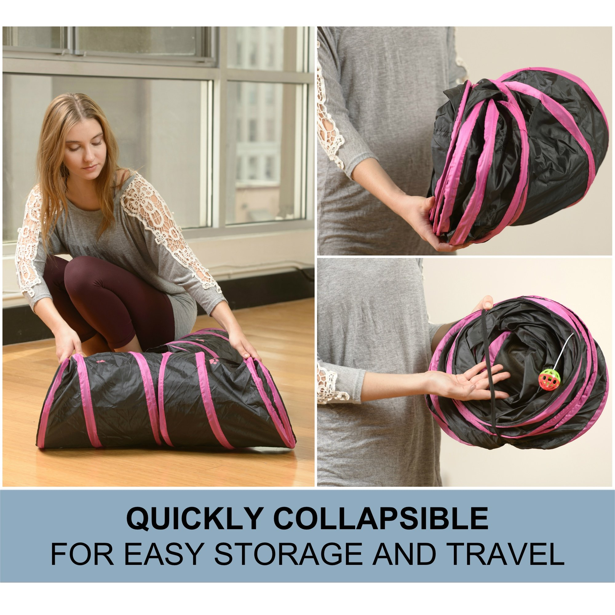 Prosper Pet Cat Tunnel - Collapsible 3 Way Play Toy - Interactive Tube Toys for Rabbits, Kittens, and Dogs - Black/Pink by Prosper Pet (Image #4)