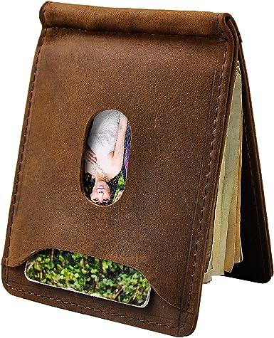 YOOMALL Mens Leather Money Clip Magnet Front Pocket Wallet Slim ID Card Holder