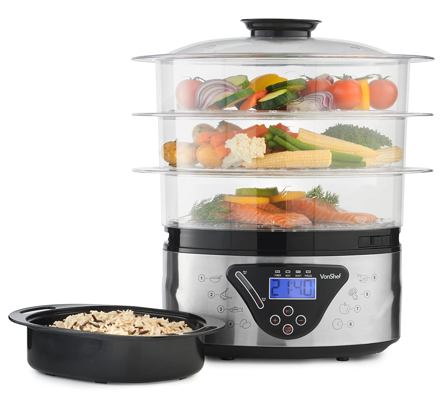 VonShef 8L Digital Stainless Steel 3 Tier Electric Food Steamer - Includes Rice  Steamer Bowl: Amazon.co.uk: Kitchen & Home