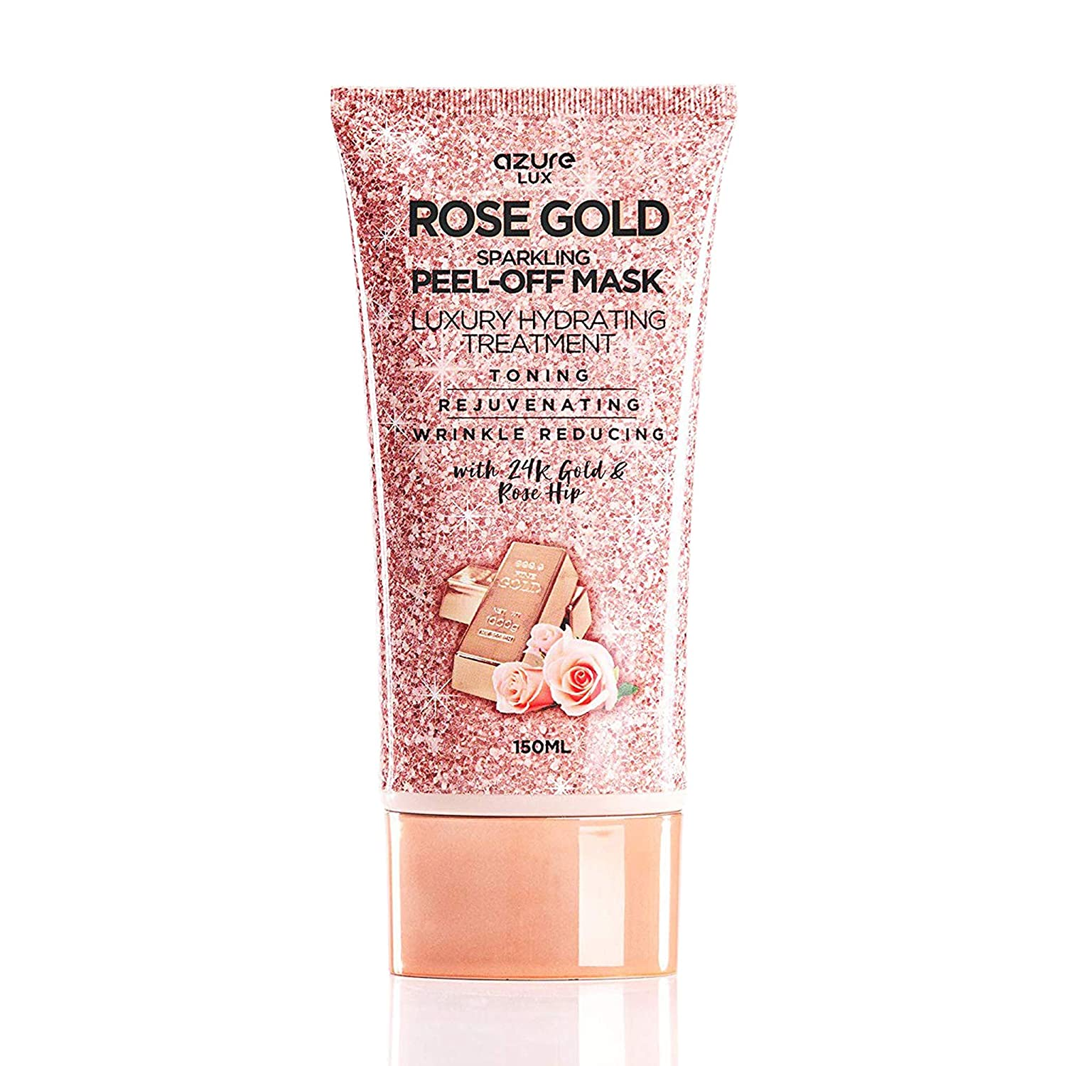 AZURE Rose Gold Luxury Sparkling Hydrating Peel Off Face Mask – Anti Aging, Toning & Rejuvenating | Removes Blackheads, Dirt & Oils | Reduces Wrinkles, Fine Lines & Acne Scars | Made in Korea - 150mL