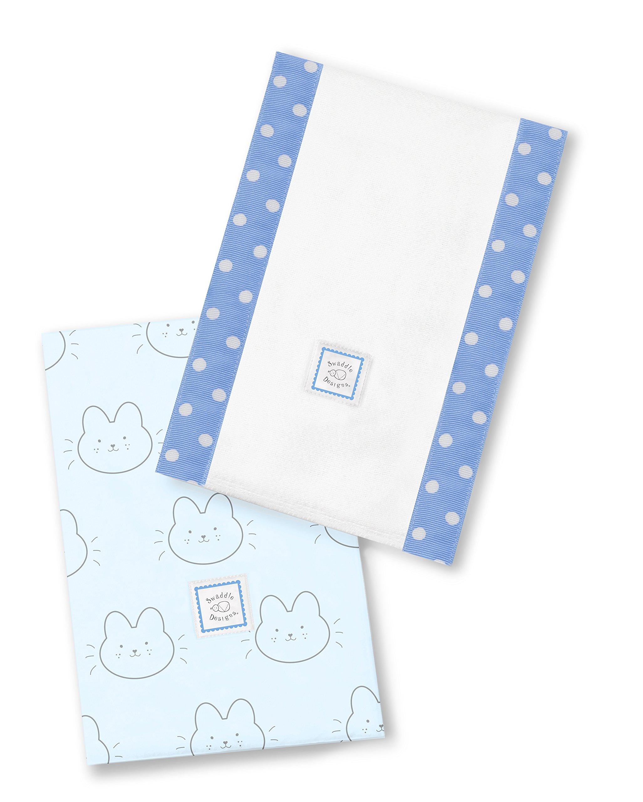 SwaddleDesigns Baby Burpies, Set of 2 Cotton Burp Cloths, Bonjour Bunnie on Blue