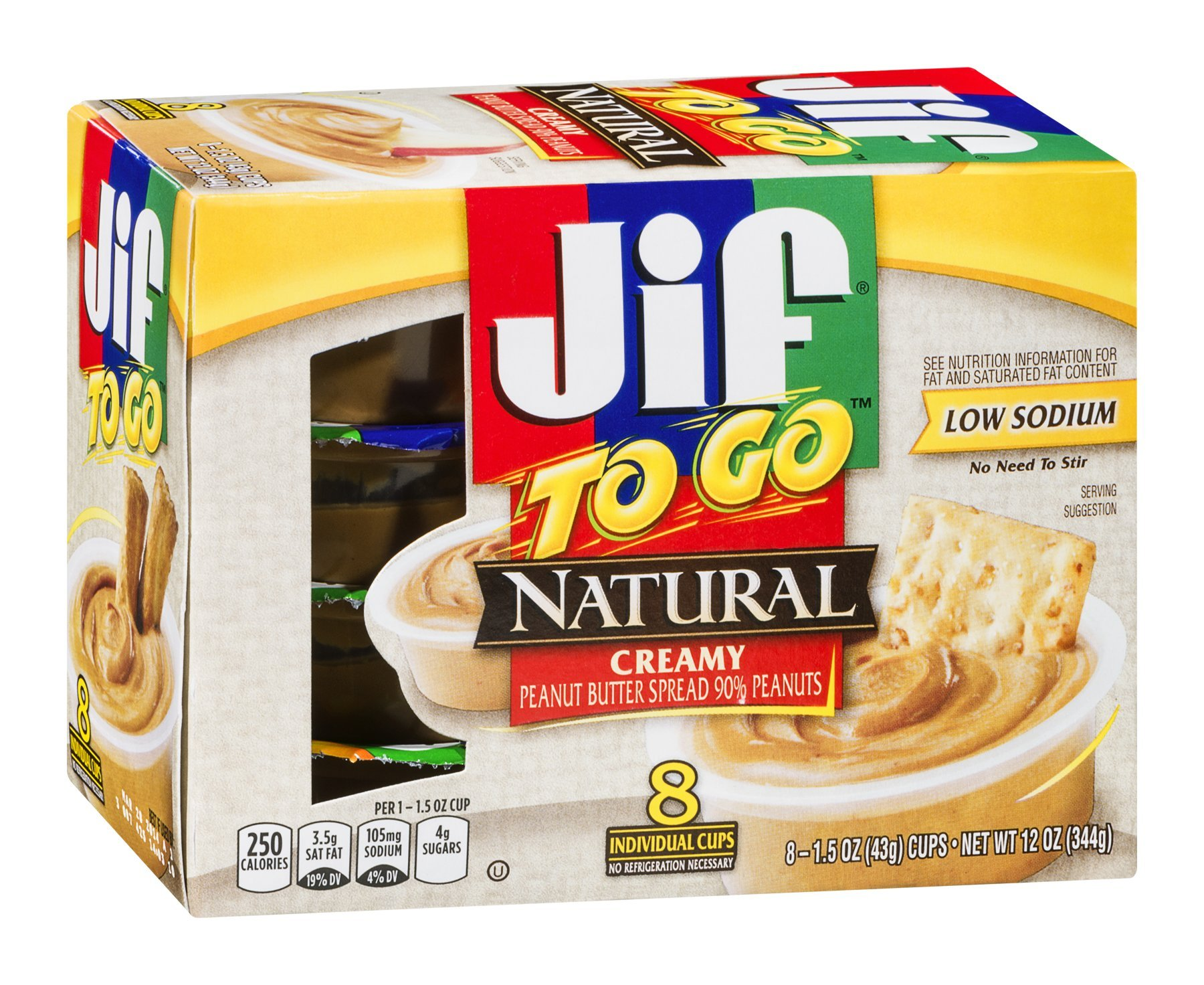 Jif to Go Natural Creamy Peanut Butter 8 Individual Cups (Pack of 6)
