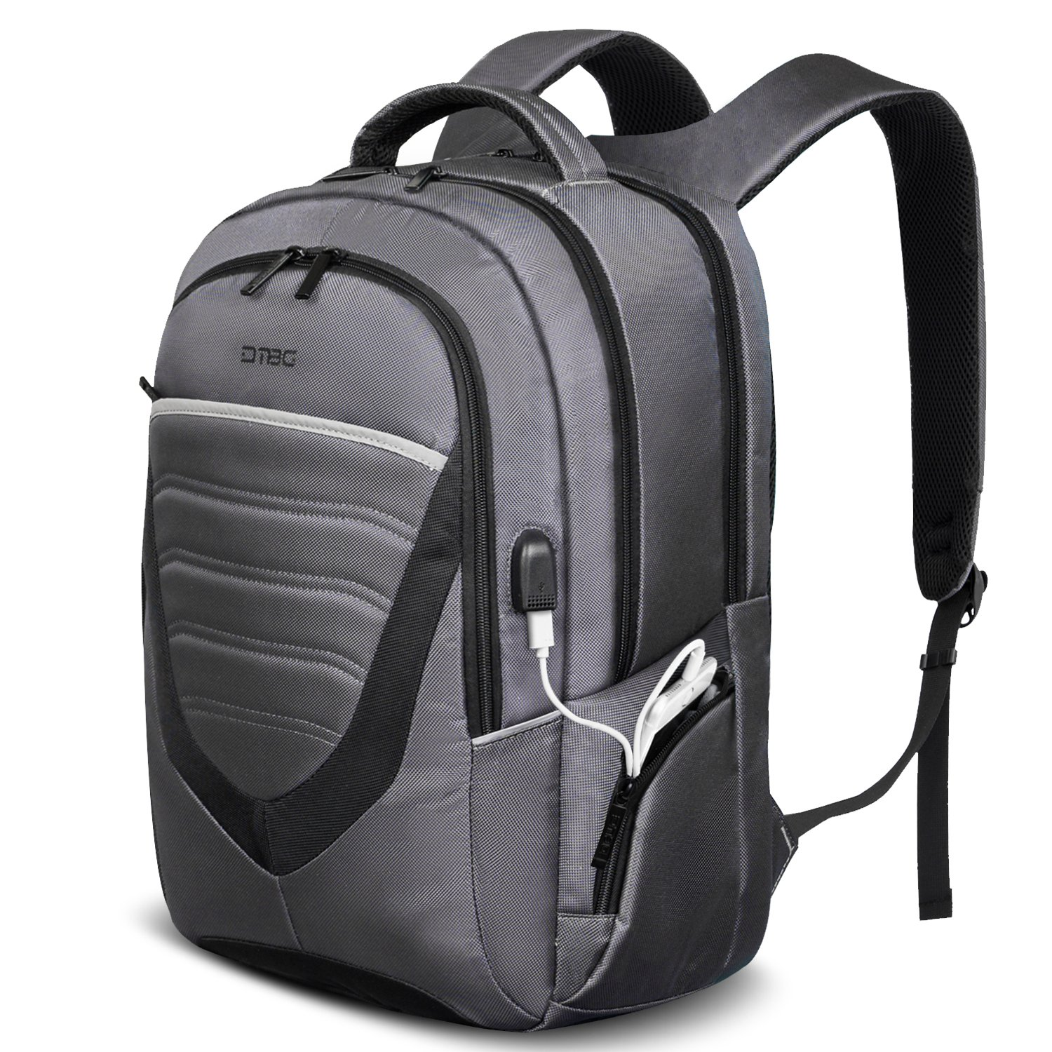 17.3 Inch Laptop Backpack with USB Charging Port,DTBG Durable Travel Business Backpack for Men / Women, College Daypack School Bag fits 17 - 17.3 Inch Laptop / Notebook / Macbook Computers,Grey