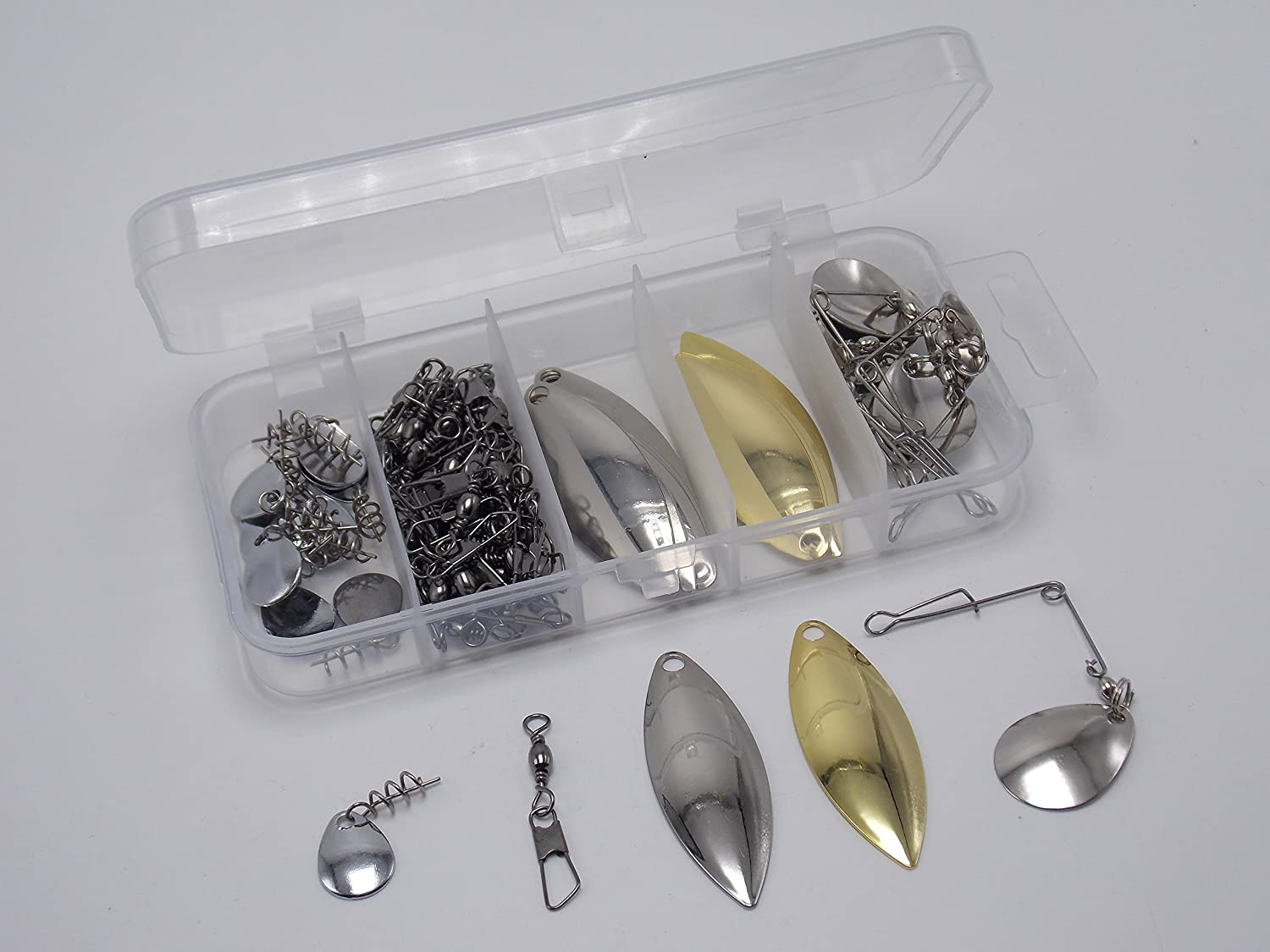 41pcs spinner and buzz baits lure blades with fishing lures ball bearing swivel
