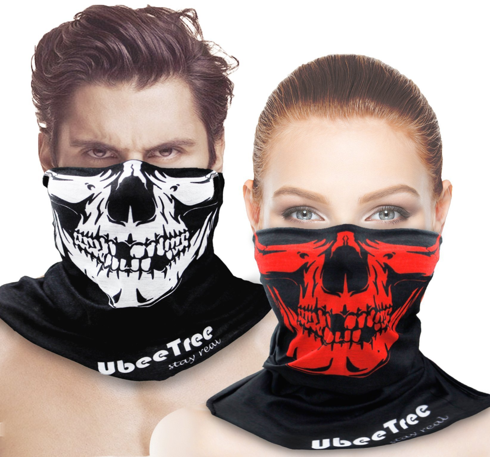 2 Packs Safety Reflective Riding Skull Face Mask Bandana Fishing Neck Gaiter Sun UV Dust Protection Windproof Ski Face Cover by UbeeTree
