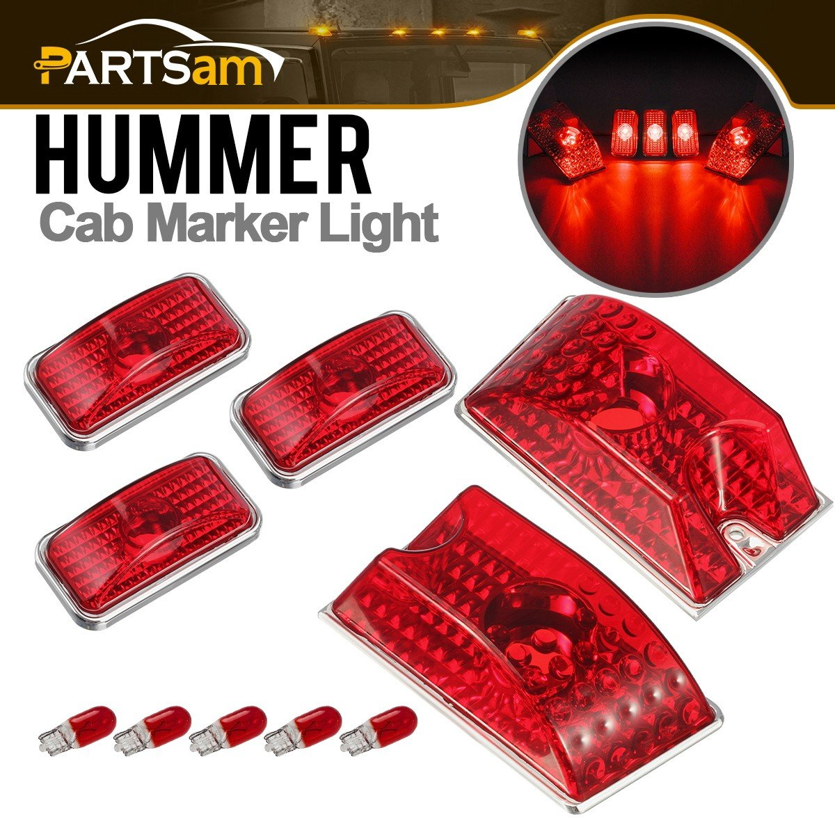 Partsam 5pcs 264160R Red Lens Cab Marker Roof Running Top Clearance Crystal Chrome Lights w/5xT10 194 168 W5W 2825 Red Halogen Bulbs Replacmeent for 2003-2009 Hummer H2 SUV SUT Waterproof