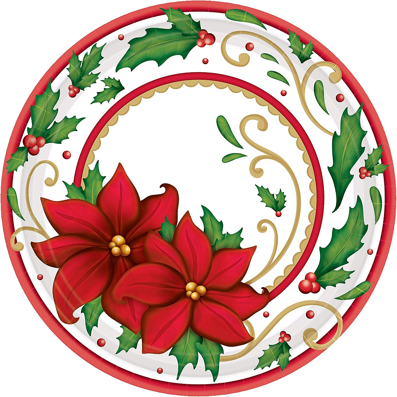 Christmas Paper Plates.Winter Botanical Round Christmas Paper Plates 60 Ct Party Tableware