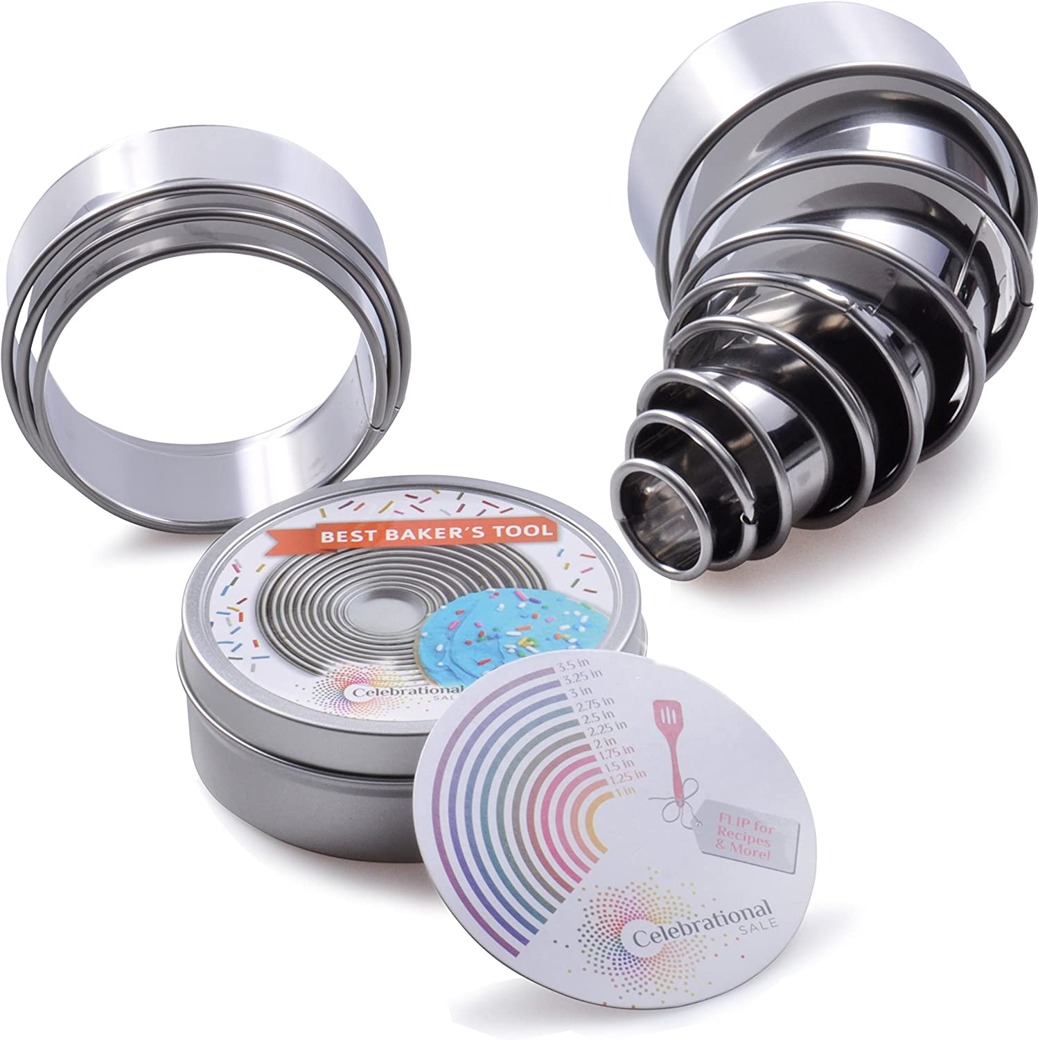 Celebrational Sale 11 Pieces Round Stainless Steel Cookie Cutter Set