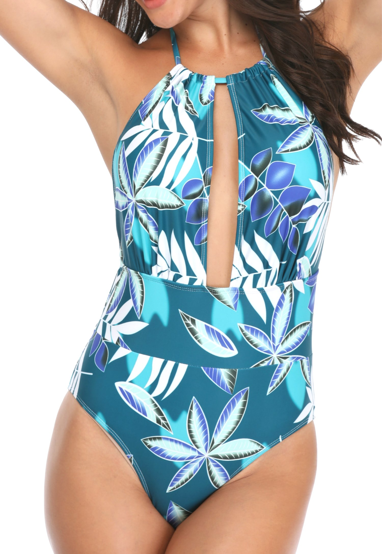 Yonique Tropical Leaves One Piece Swimsuits for Women Deep V Neck Monokini Bathing Suits Tummy Control Swimwear