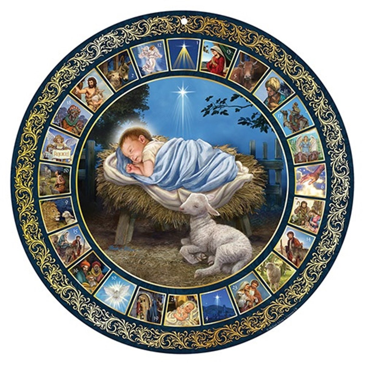Glad Tidings Holy Family Nativity 17-inch Christmas Advent Calendar CB No Model