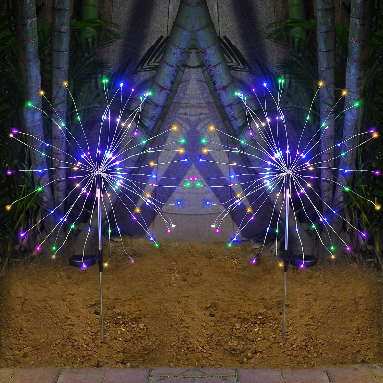Solar Lights Outdoor - 2 Pack Solar Garden Decorative Lights with 105 LED Powered 35 Copper Wires Fireworks Lights for Walkway Patio Lawn Backyard Christmas(Multi-Color)