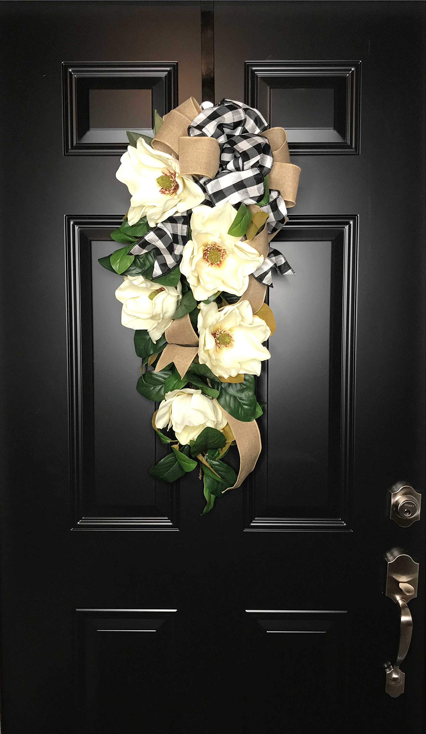 Large Southern Magnolia Teardrop Floral Swag Wreath w/Buffalo Plaid/Check Bow for Front Door Porch Indoor Wall Farmhouse Decor Spring Springtime Summer Summertime Year Round, Handmade, 30''L x 18'' W by Wreath and Vine, LLC (Image #4)