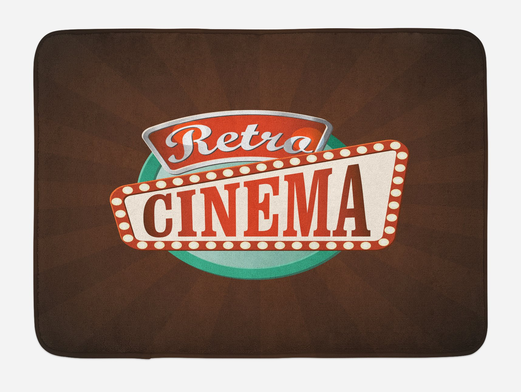 Ambesonne Movie Theater Bath Mat, Retro Style Cinema Sign Design Film Festival Hollywood Theme, Plush Bathroom Decor Mat with Non Slip Backing, 29.5 W X 17.5 W Inches, Brown Turquoise Vermilion