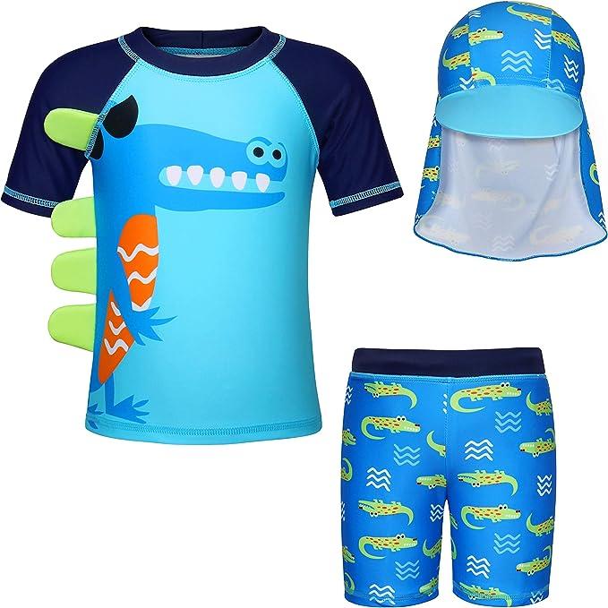 Edjude Costumi da Bagno per Ragazzi 2 Pezzi Protezione Solare UV Cartoon Nuoto Costumi da Bagno Calzoncini Muta con Cappello da Sole per 2-8 Anni