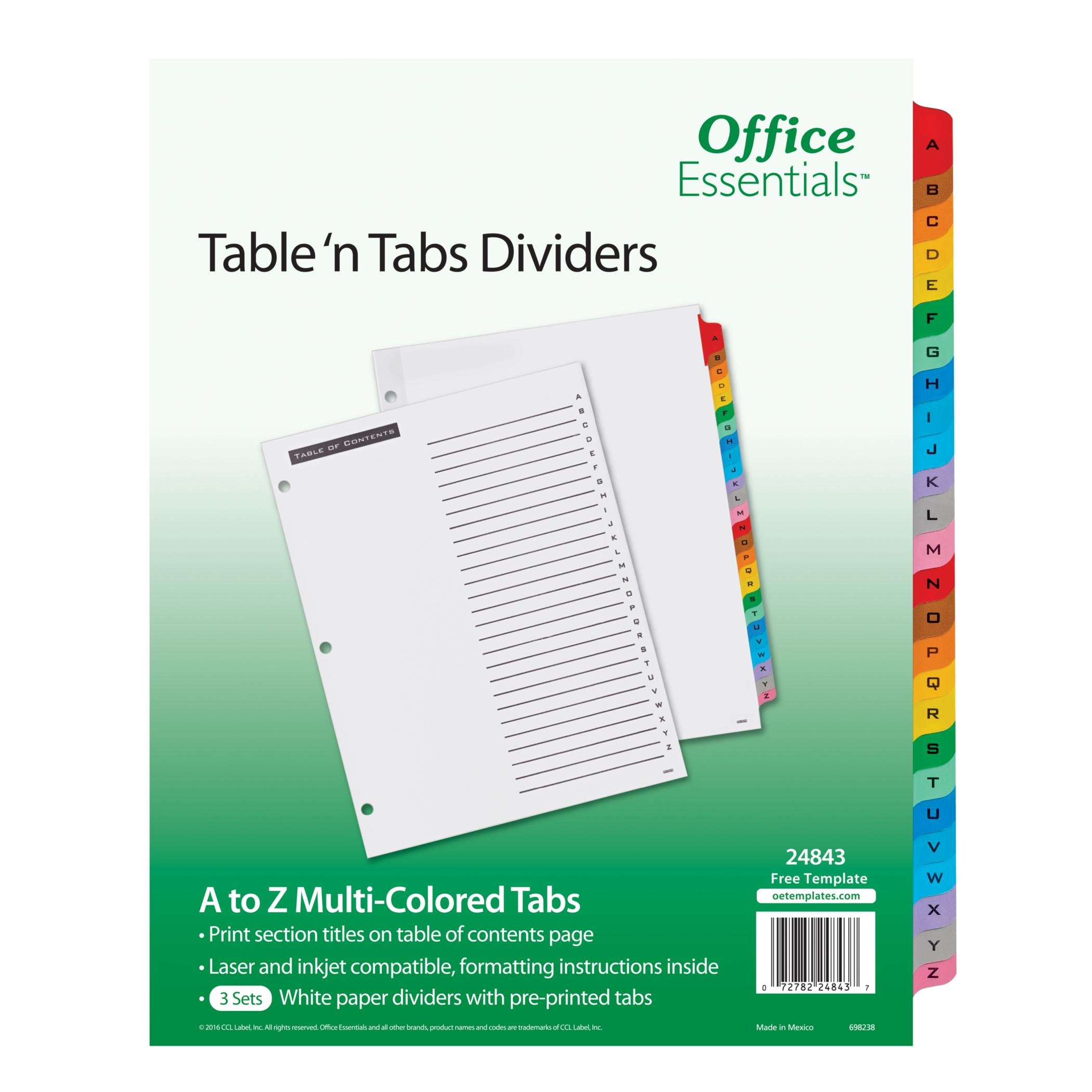 Office Essentials Table 'n Tabs Dividers, 8-1/2'' x 11'', A-Z Tab, Multicolor Tab, Laser/Inkjet, 3 Sets (24843)
