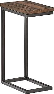 "Amazon Brand – Stone & Beam Larson Industrial Wood & Metal Side End Table, 22""W, Walnut"