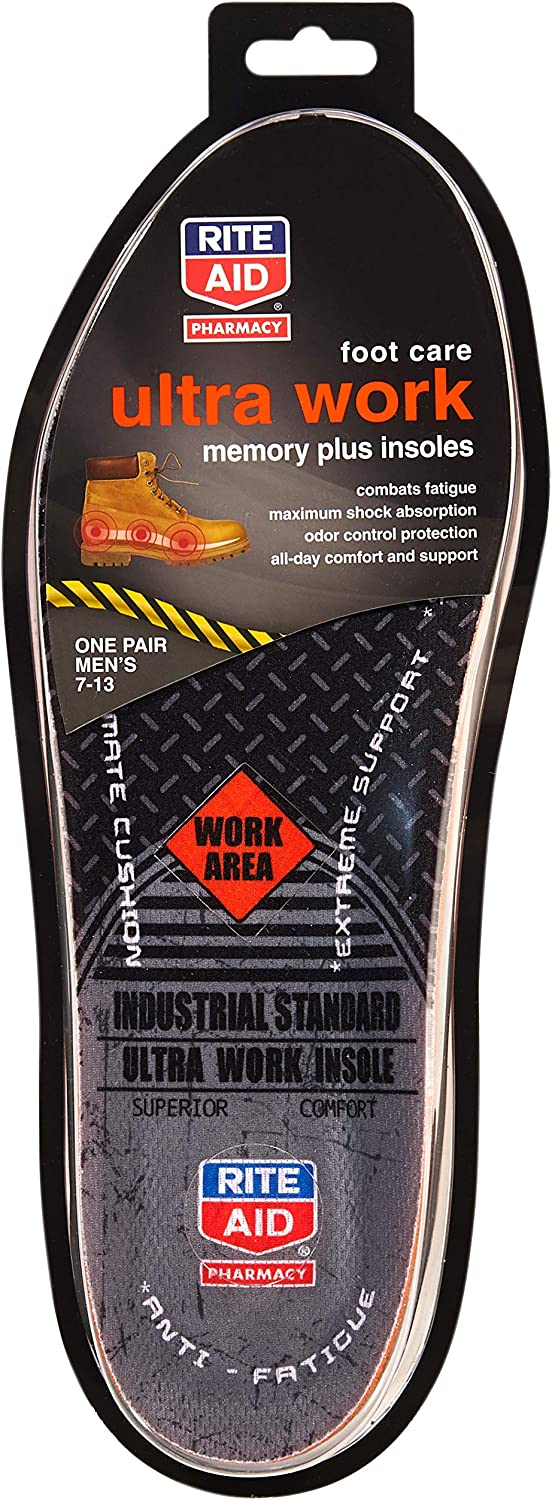 Rite Aid Memory Plus Work Boot Insoles for Men, 1 Pair - Sizes 7-13 | Shock Absorbing Insoles | Memory Foam Insoles | Shoe Inserts for Men