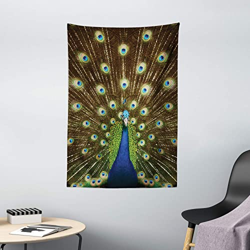 Ambesonne Peacock Tapestry, Portrait of Peacock with Feathers Out Vibrant Colors Birds Summer Garden, Wall Hanging for Bedroom Living Room Dorm Decor, 40 X 60 , Navy Green