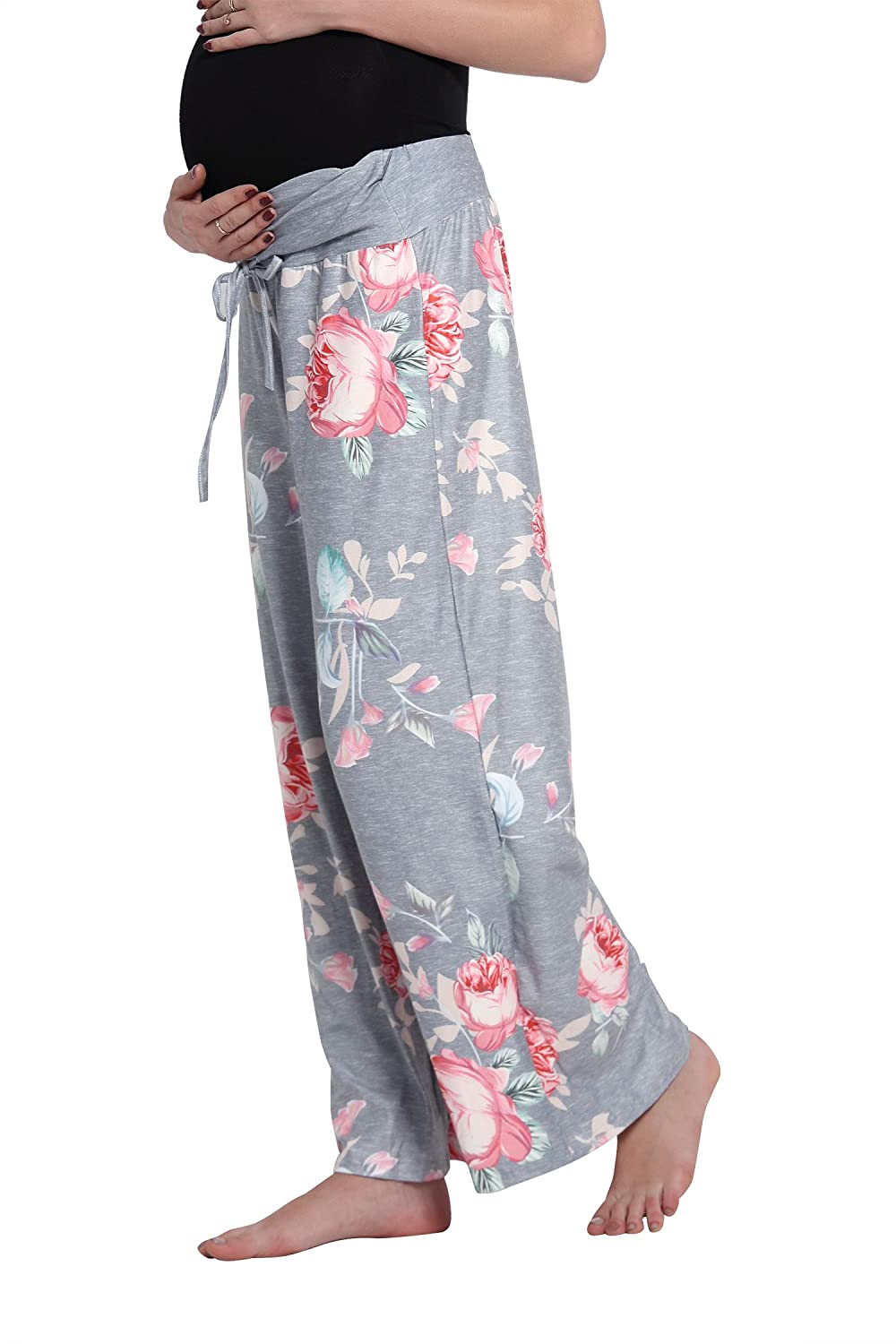 e55a82df4d4 Molliya Maternity Casual Pajama Wide Leg Pants Floral Prints Drawstring  Palazzo Womens Lounge Pants Plus Size larger image