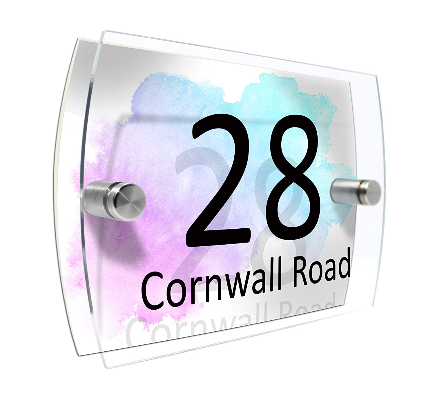 House Number Sign Plaque Garden Glass Effect Acrylic Sign Door Plate Marble Wall Display 2 Part Branded Acrylic Dandelion