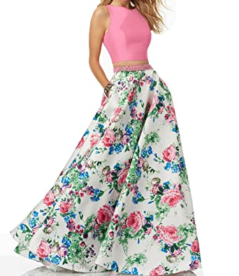 95358b2442 Yiweir Women s Prom Dresses 2018 Two Piece Long Floral Print Formal Gowns  YF002 at Amazon Women s Clothing store