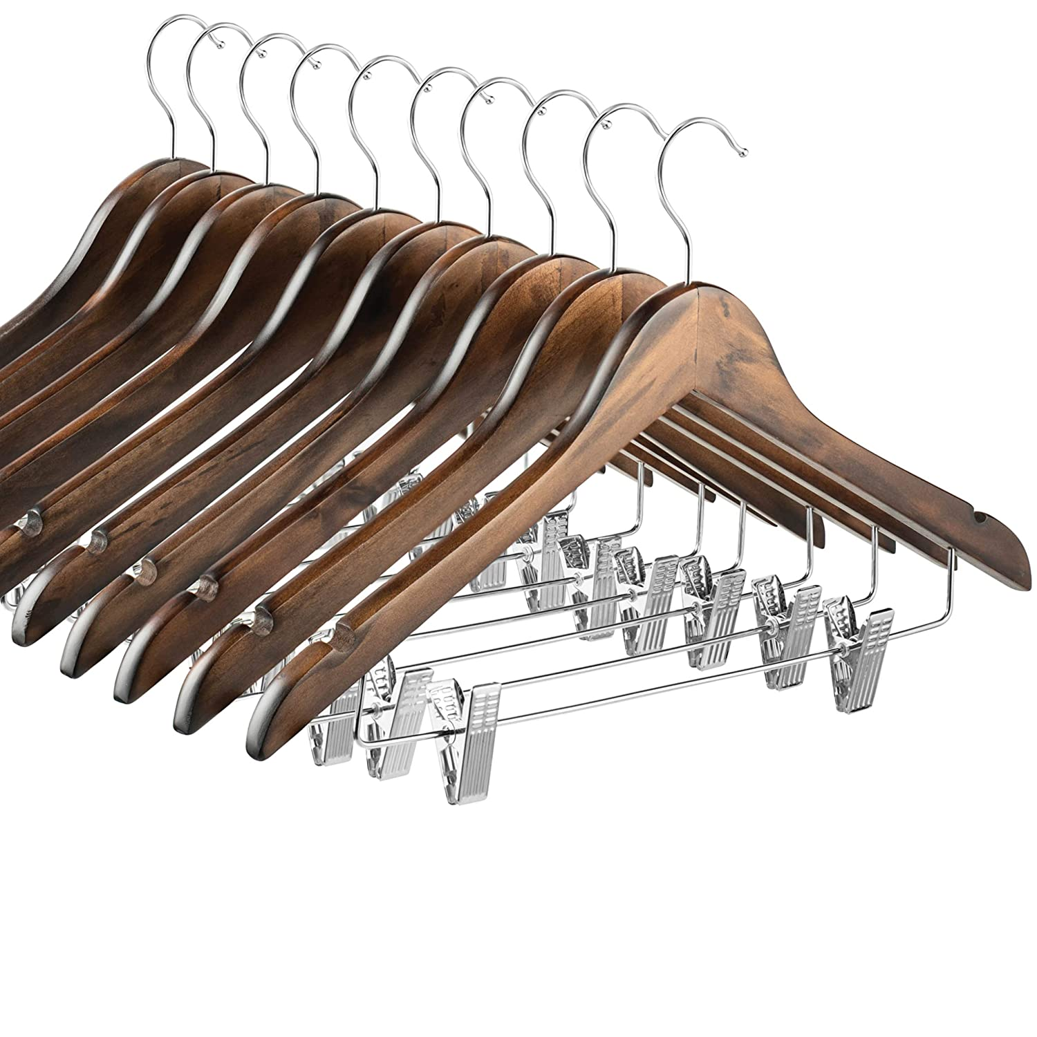 Smooth Solid Wood Pants Hangers with Durable Adjustable Metal Clips Jacket Blouse Shoulder Notches for Dress Coat 360/° Swivel Hook 10 Pack High-Grade Wooden Suit Hangers Skirt Hangers with Clips