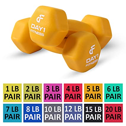 Amazon com : Day 1 Fitness Neoprene Dumbbell Pairs 5 Pounds - Non