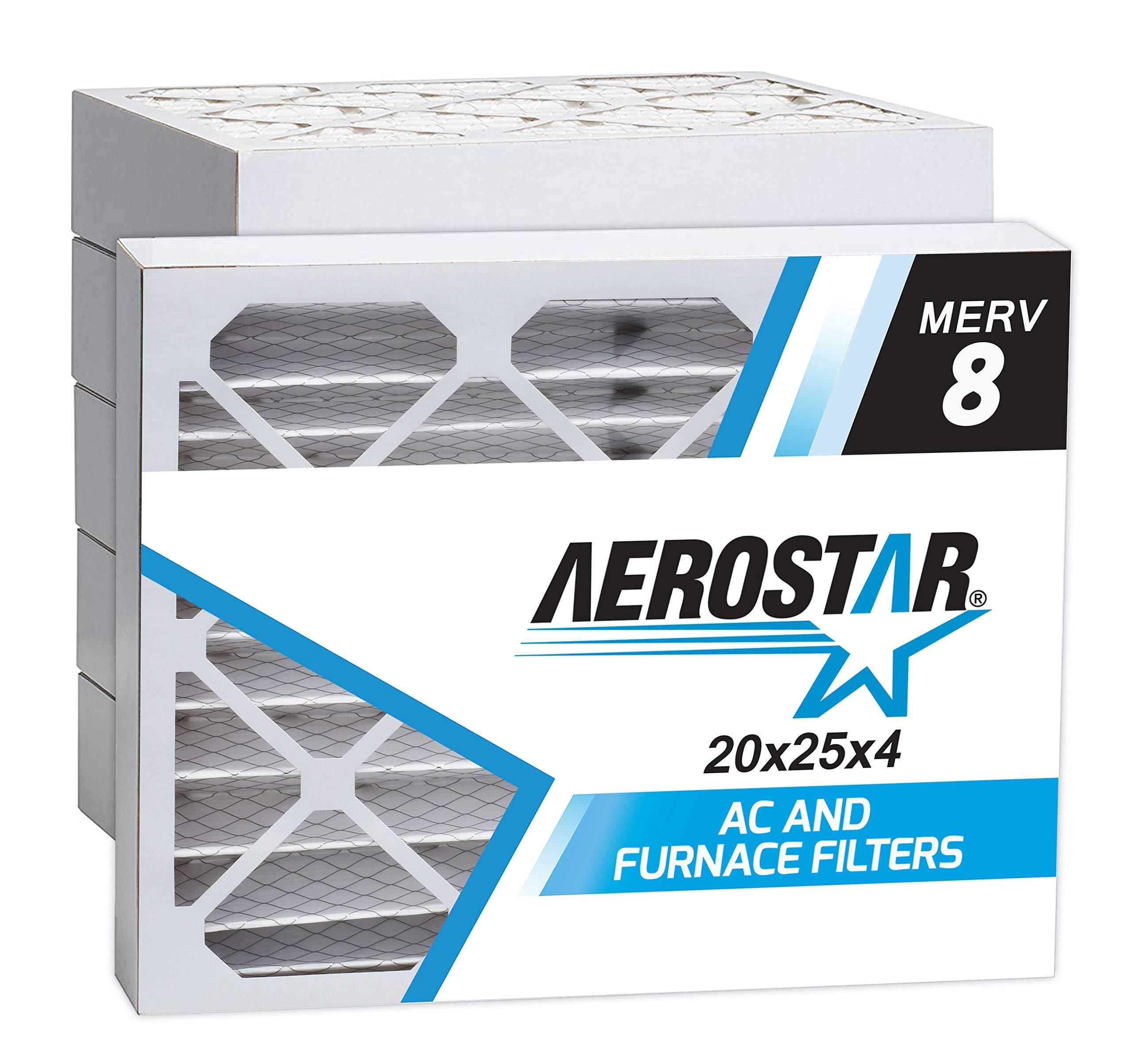 Aerostar 20x25x4 MERV 8 Pleated Air Filter, Made in the USA 19 1/2'' x 24 1/2'' x 3 3/4'', 6-Pack