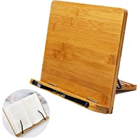Bamboo Book Holder Aggice Adjustable Book Holder with Tray and Page Paper Clips Protable Bookstand Hands Free Book Stand (Bamboo)