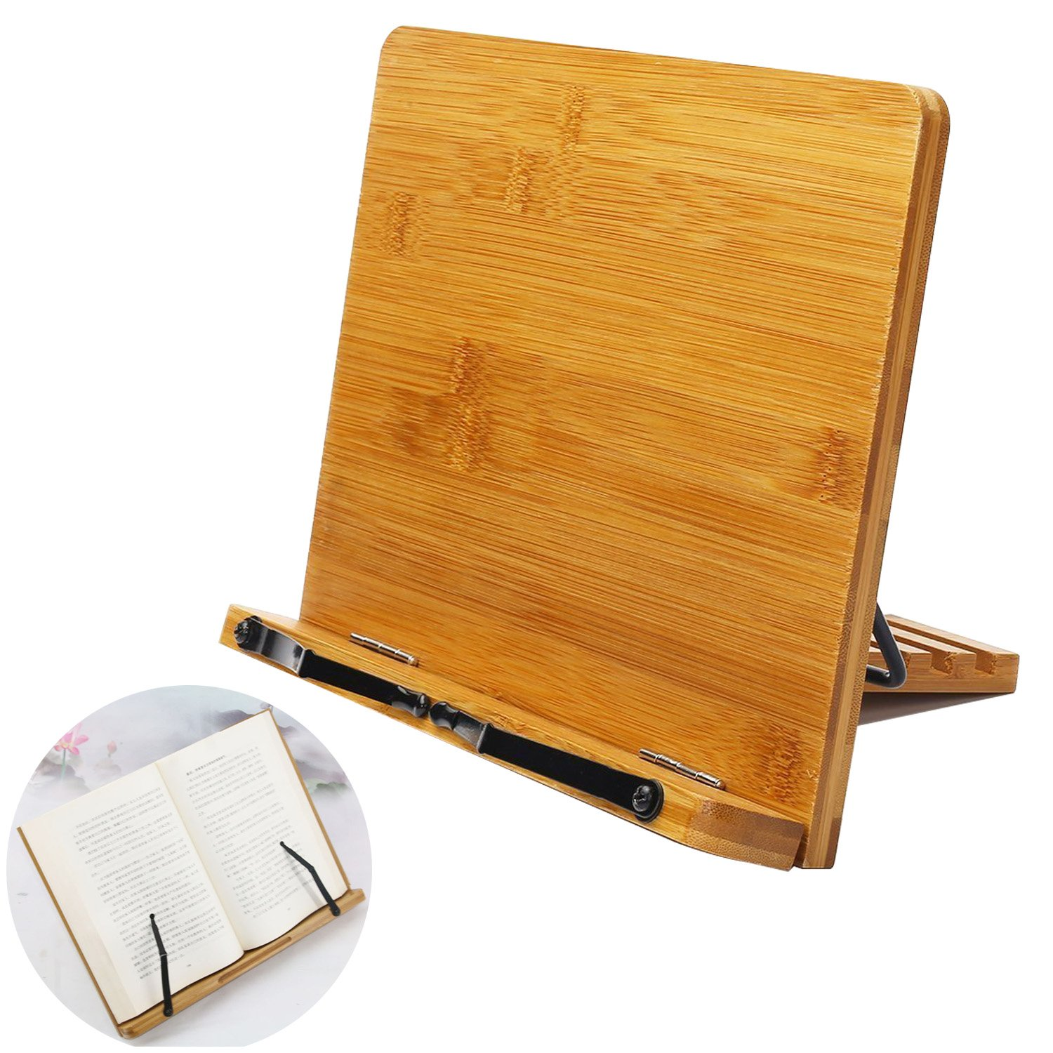 Bamboo Book Holder, Aggice Adjustable Book Holder with Tray and Page Paper Clips, Protable Bookstand Hands Free Book Stand (Bamboo)