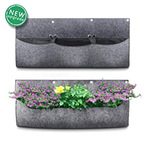 Richoose Hanging Garden Planter with 3 Adjustable Size Pockets, Brand New Style Waterproof Wall Mount Planter Pouch Solution (2019)