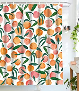 wanxinfu Shower Curtain with Hooks, Funny Fruit Theme Summer Peach Waterproof Decoration Polyester Cloth Bath Curtains Sets for Bathroom, 72