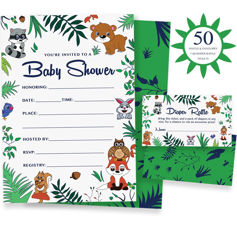 woodland baby shower invitations diaper raffle game 50 animal