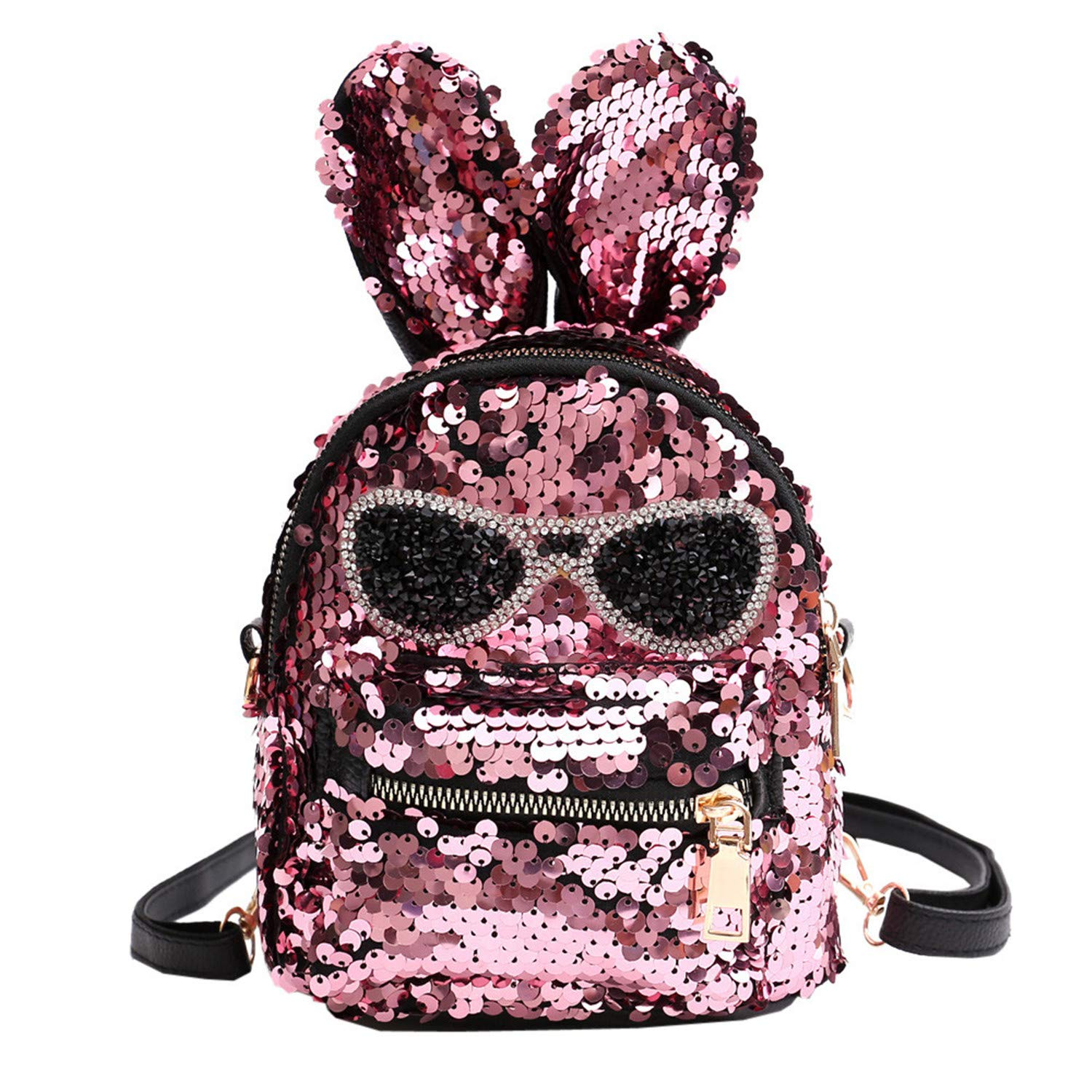 a550a2dbefcf Amazon.com | Women Bling Sequins Backpack Cute Big Rabbit Ears ...