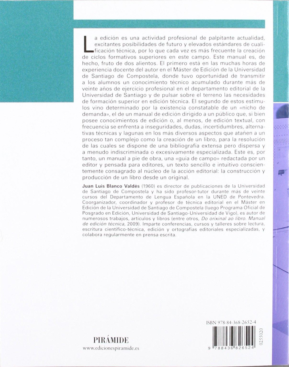 Manual de edición técnica: Del original al libro Ozalid ...