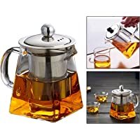 Square Glass Teapot Heat Resistant Bottle Cup with Infuser Perfect for Tea and Coffee (350ml)