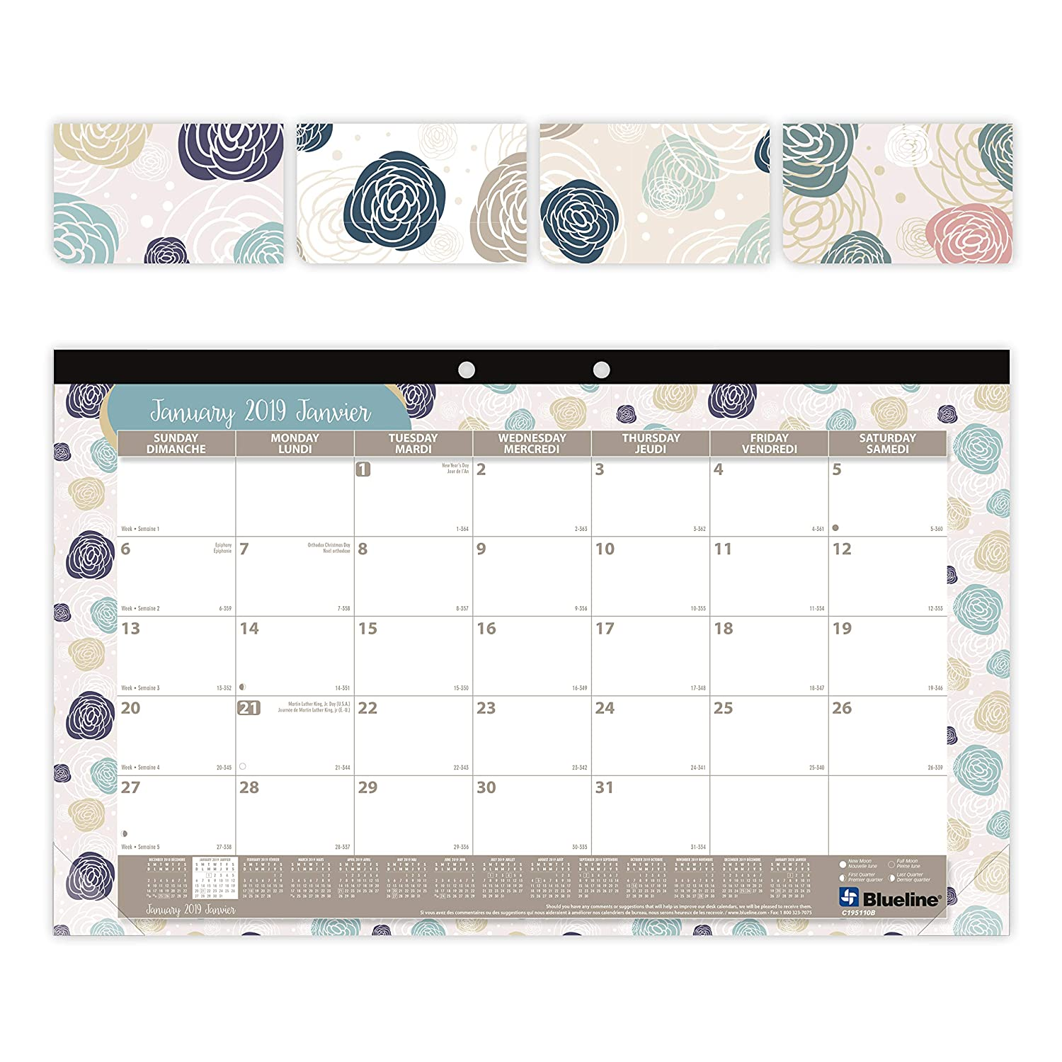 Blueline C195110B-2019 2019 Colourful Monthly Desk Pad. Begonia Designs. Bilingual. 17-3/4 x 10-7/8 Blueline Canada