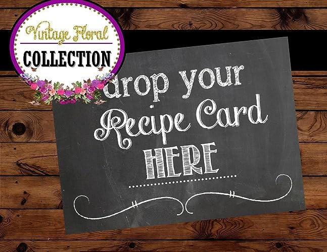 bridal shower sign chalkboard wedding sign recipe card sign digital file bridal