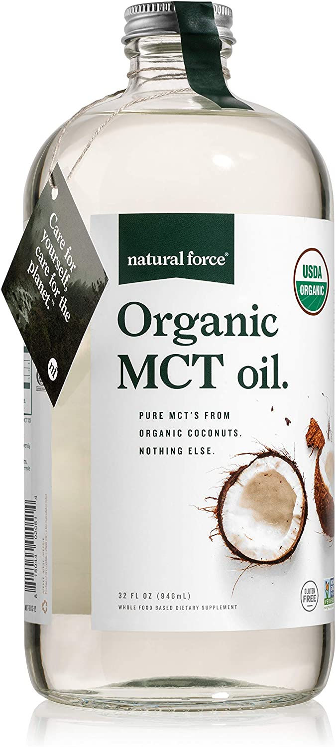 Natural Force Organic MCT Oil – Pure Glass Bottle – Made from 100% Cold Pressed Virgin Coconut Oil + Certified Keto, Paleo, Kosher, Vegan & Non-GMO – Lab Tested for Quality and Purity - 32 Ounce