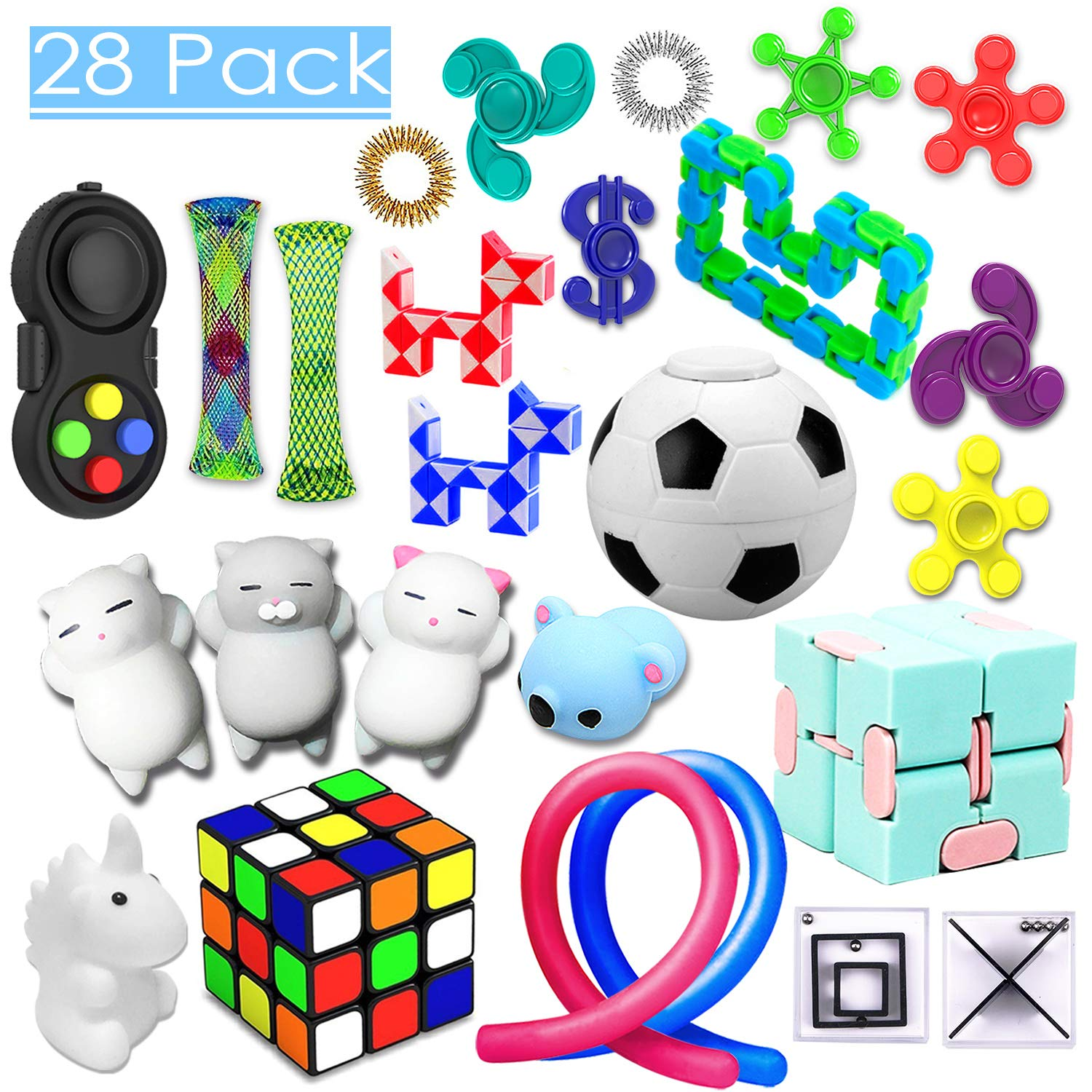 28 Pack Sensory Toys Set, Relieves Stress and Anxiety Fidget Toy for Children Adults, Special Toys Assortment for Birthday Party Favors, Classroom Rewards Prizes, Carnival, Piñata Goodie Bag Fillers by PP PHIMOTA