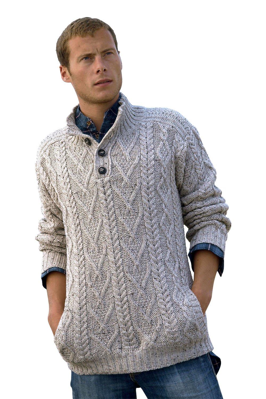 100% Irish Merino Wool Traditional Button Neck Aran Sweater by West End Knitwear, Oatmeal Beige, Small