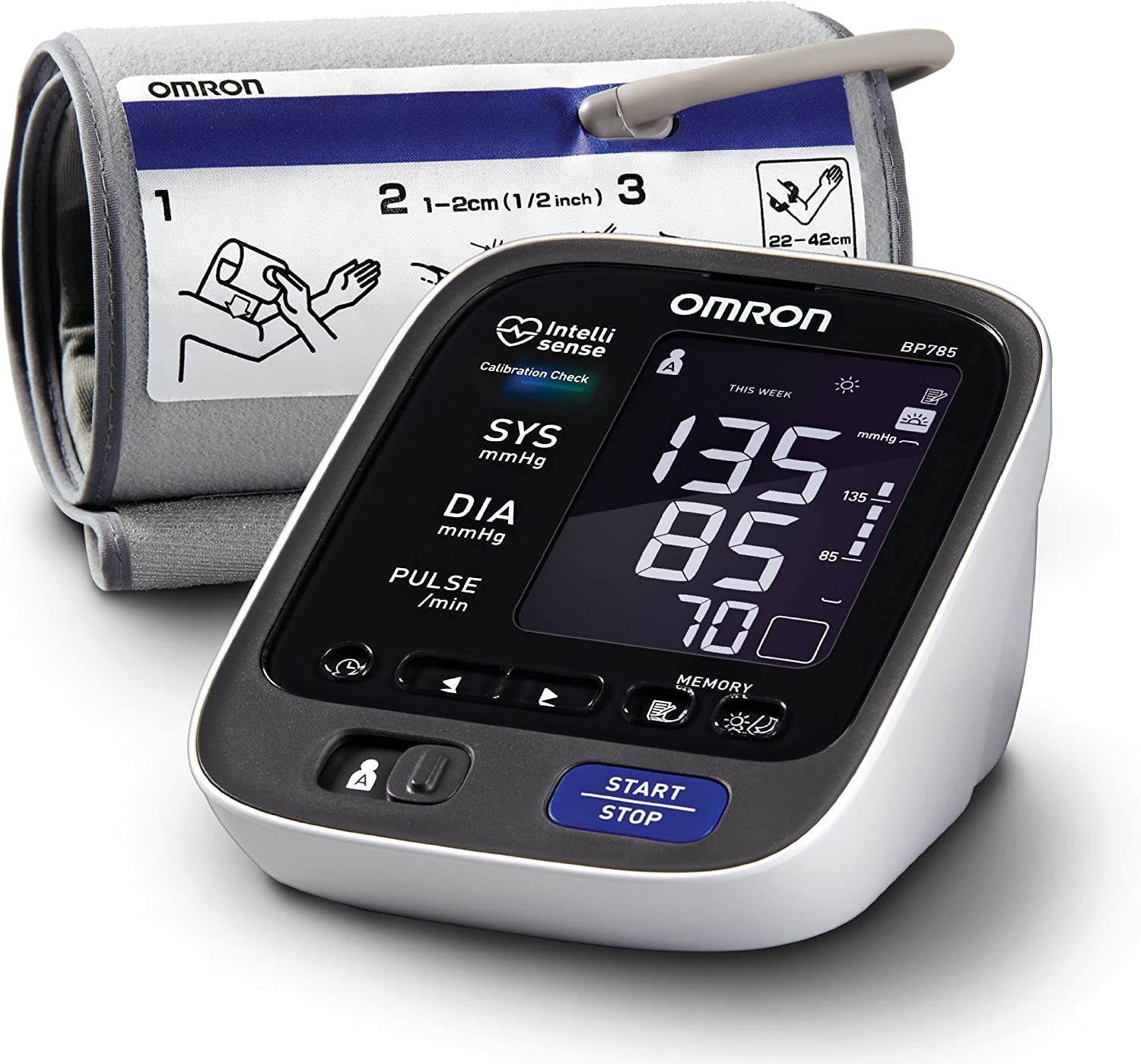 Omron BP785 10 Series Upper Arm Blood Pressure Monitor, Black white