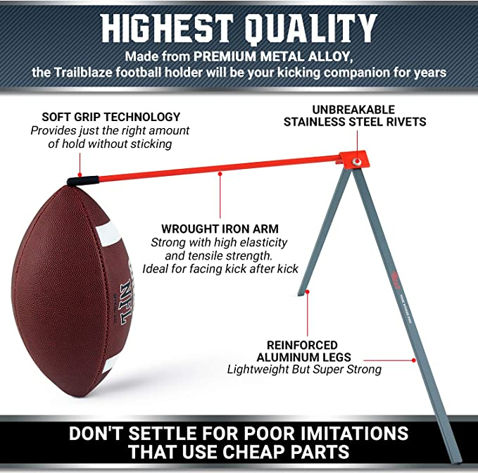 True Strike Pro Football Kicking Tee - Premium Quality Field Goal Kicking Holder Compatible with All Ball Sizes - Super Strong Portable Bonus Kicking ...