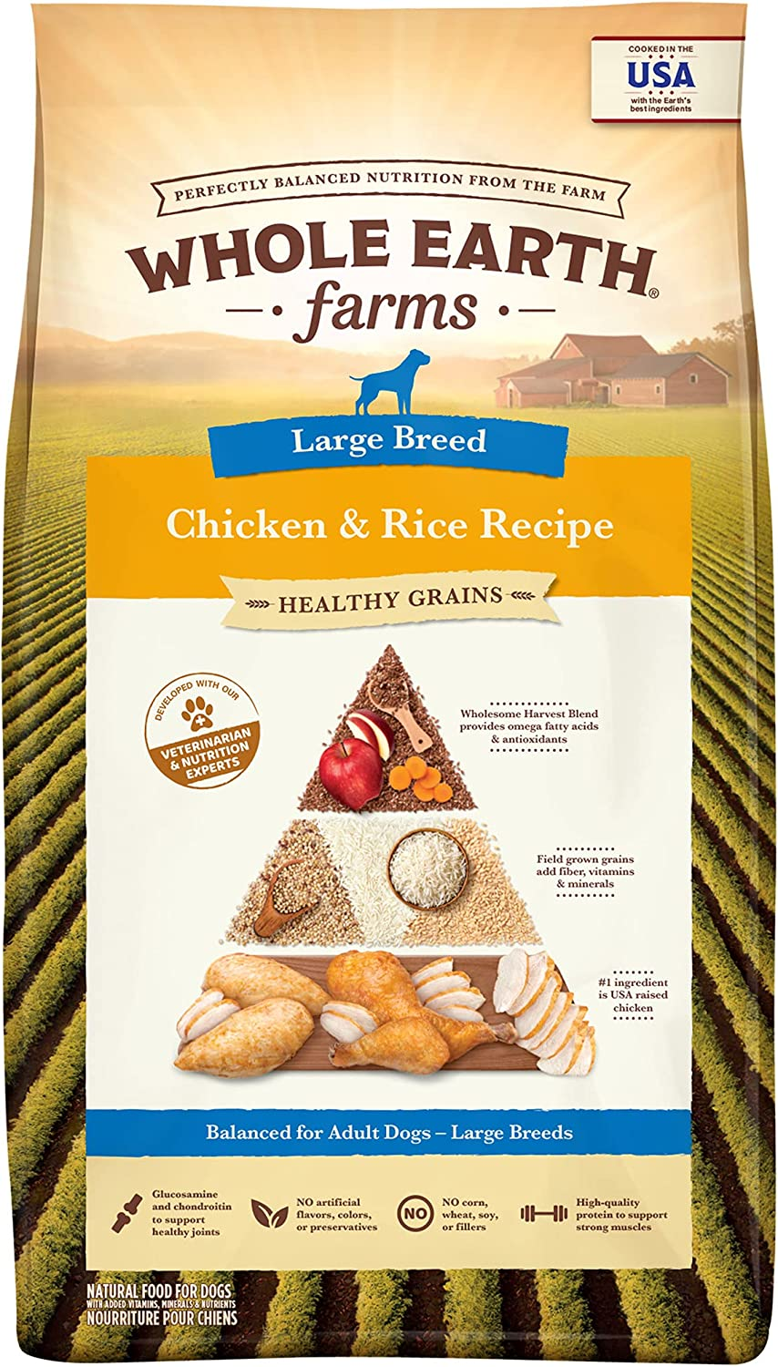 Whole Earth Farms Healthy Grains Large Breed Chicken and Rice Recipe Dry Dog Food - 12 lb. Bag